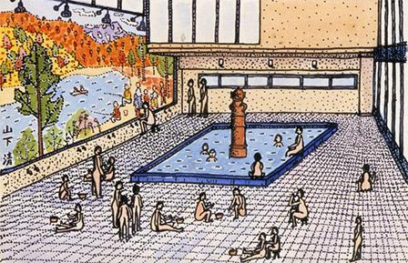 【はにわ風呂】 水彩・マジック画<